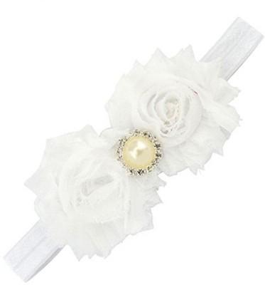 BabyZinnia Newborn Flower Pearl Shabby Head Band