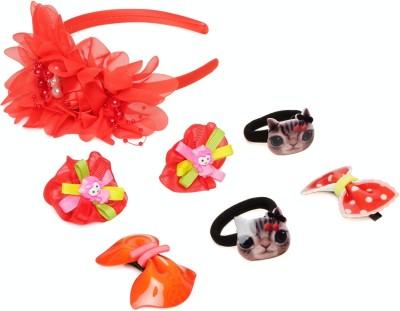 Samyak Red Floral Tic Tac Clip, Hair Band, Rubber Band