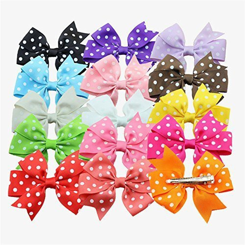 Bzybel Bzybel Baby Girls Grosgrain Ribbon Boutique Hair Bows Alligator Clips Polka Dots Hair Clips , Barrettesfor Girls Kids Children Toddlers Mix 15 Colors Hair Clip(Multicolor)