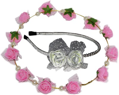 Juhi Tiara with White Floral Hairband Hair Accessory Set