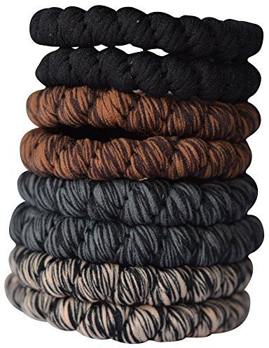 Bzybel Bzybel 8pcs Thick Solid Stretch Pony Elastics Ponytail Holders Hair Ties Hair Accessory Set(Multicolor)