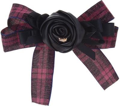 Fayon Fabulous Fashion Black Leather Rose Hair Clip