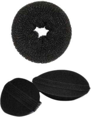 HomeoCulture Small Donut Volumizer Bumpits Hair Accessory Set(Black)