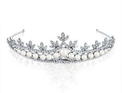 Bling Jewelry Christmas Gifts Rhodium Plated Rhinestone Simulated Pearl Bridal Tiara Hair Accessory Set(White)