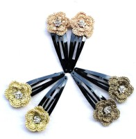 moKanc Tic Tac Clips with Crochet Motifs Hair Clip(Copper, Gold)