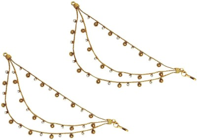 Mehrunnisa Triple Layer Kan Gold Tone Crystal Ear To Hair Accessory For Women Hair Chain