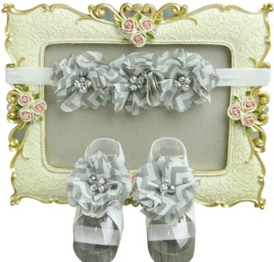 NeedyBee Flower Bunch Kids Baby Headband and Barefoot Sandal Baby Girls Hair Accessory Set