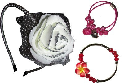 Juhi Floral Hairband, Rubber band, Bracelet Hair Accessory Set