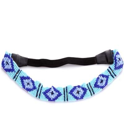 Trinketbag 50 Shades Of Blue Beady Pattern Stretchable Hair Band