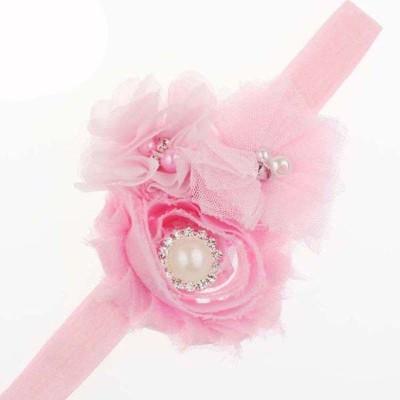Bellazaara BELLAZAARA Dressy Baby Girl Headband Ivory Shabby chiffon Rose Flower with Pearl and Rhinestones Head Band