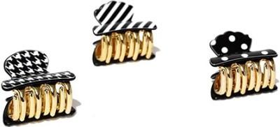 ToniQ Set of 3 Printed Gingerbread Black Hair Claw