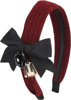 Fayon Contemporary Statement Maroon Woolen Bow Hair Band