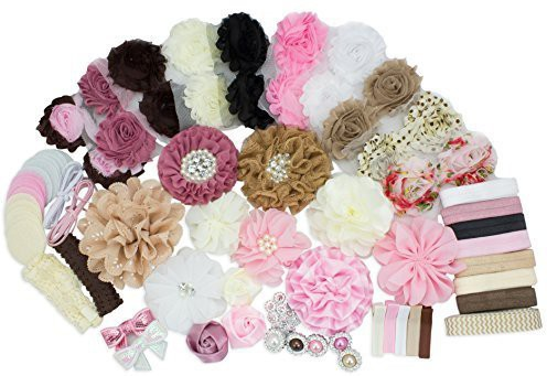 LIKA SUPPLY LLC Baby Shower Games Party Supplies Headband Kit - Fashion Headband Kit - DIY Headband Maker Kit - Make 32 Headbands and 5 Clips - Baby Shower Headband Station Kit - DIY Hair Bow Kit - Vintage Collection Head Band(Multicolor)