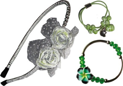 GD Floral Hairband, Rubber band, Bracelet Hair Accessory Set