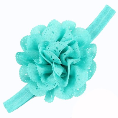 Bellazaara BELLAZAARA Mesh Flower Eyelet Baby Girls Elastic Blue Headband Kids Head Accessories Hairband Princess Hair Band Head Band