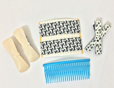 Ecombasket Combo of 6 Printed Cloth Hair Claw, Hair Clip
