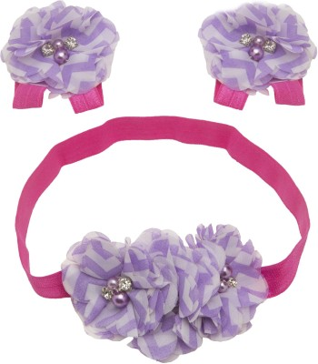 NeedyBee Infant, Newborn Flower Bunch Baby Girls Headband and Barefoot Sandal Hair Accessory Set