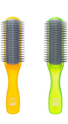 Kent Combo AHGLO1 Everyday Combing & Styling Brush(Orange+Lime)