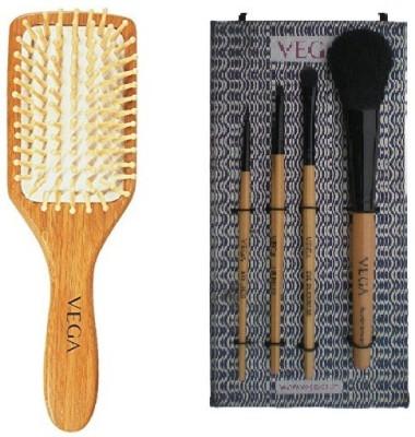 Vega Wooden Bristle Paddle Brush - Medium & Set of 4 Make-up Brushes