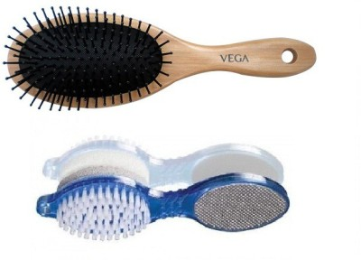 Vega Wooden Cushion Brush & Foot Scrubber 4 in 1