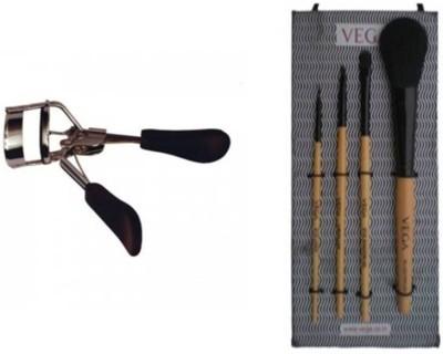 Vega Set of 4 Make-up Brushes EVS-04 & Premium Eyelash Curler EC-02 (Pack of 2)