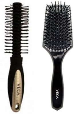 Vega Flat Mini Paddle Brush & Round Brush (Pack Of2)