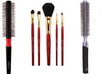 vega Set of 5 Make-up Brushes & Round and Roll brushes