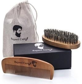 Repsol Care Repsol Care Natural Boar Bristle Beard Brush and Handmade Beard Comb Kit for Men Hair, Beard and Mustache