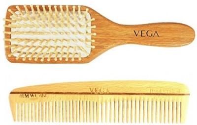 Vega Wooden Bristle Paddle Brush - Medium & Styling Wood Comb