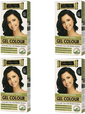 Indus Valley Permanent Herbal Dark Brown 3.0 One Time Use (Set of 4) Hair Color