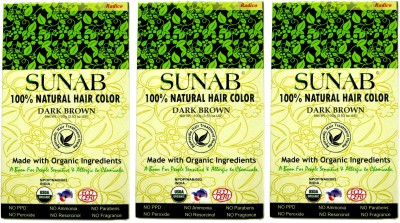 Sunab Certified Organic & 100% Natural Dark Brown (Set Of 3 Boxes) Hair Color
