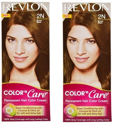 Revlon Color N Care Permanent Hair Color Cream - Brown Black 2N - Pack of 2 Hair Color