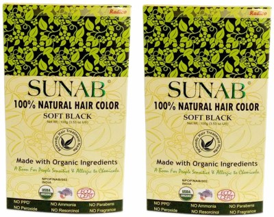 Sunab Certified Organic & 100% Natural-Soft Black-Twin Pack Hair Color