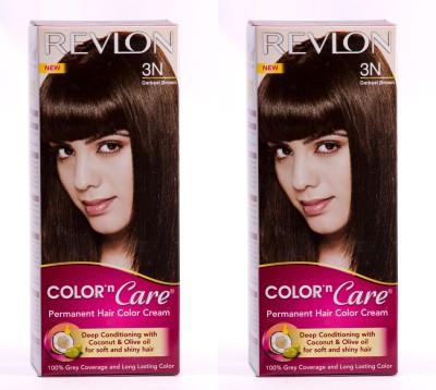 Revlon Color N Care Permanent Hair Color Cream - Darkest Brown 3N - Pack of 2 Hair Color