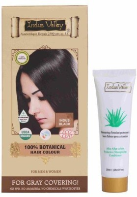 Indus Valley 100% Botanical Organic Healthier Indus Black with free shampoo Hair Color