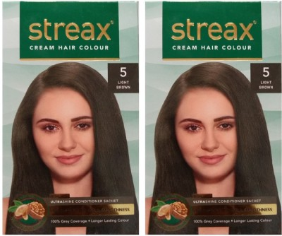 Streax Cream Light Brown 5, Pack of 2, Hair Color(Light Brown 5)