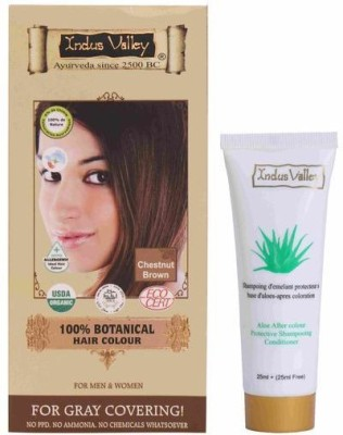 Indus Valley 100% Botanical Organic Healthier Chestnut Brown with free shampoo Hair Color