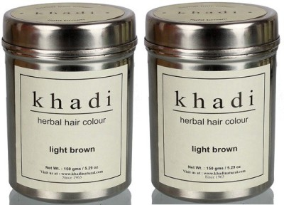 Khadi Natural Herbal Hair Color (Pack of 2) Hair Color(Light Brown)
