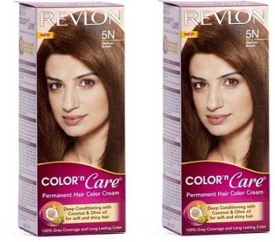 Revlon Color N Care Permanent Cream Medium Brown 5n - Pack Of 2 Hair Color