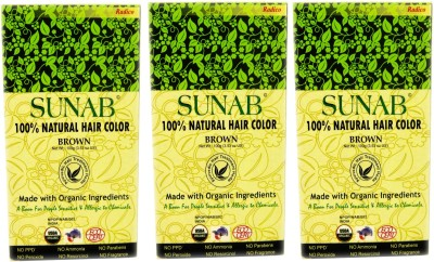 Sunab Certified Organic And 100% Natural Brown (Tripple Pack) Hair Color