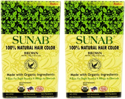 Sunab Certified Organic And 100% Natural Brown (Twin Pack) Hair Color