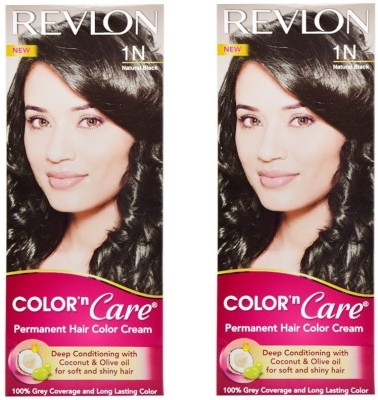 Revlon Color N Care Permanent Hair Color Cream - Natural Black 1N - Pack of 2 Hair Color