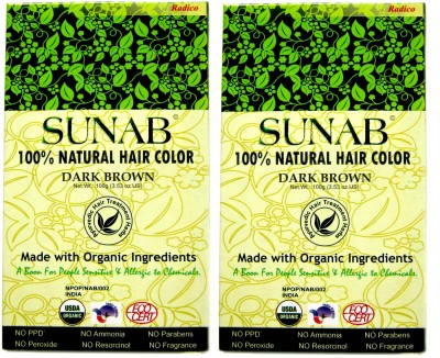 SUNAB Certified Organic & 100% Natural Dark Brown (Twin Pack) Hair Color