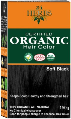 24 HERBS Certified Organic Hair Color - Soft Black Hair Color(Soft Black)