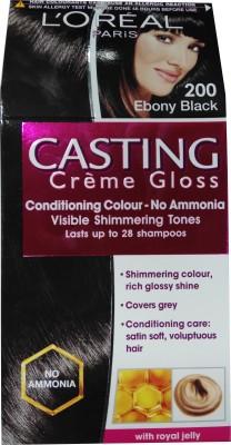 L,Oreal Paris Casting Creme Gloss Hair Color(Ebony Black - 200)