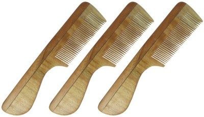 Prakrita Handicraft Regular Fine Tooth Comb Made of Neem Wood (Pack of 3)