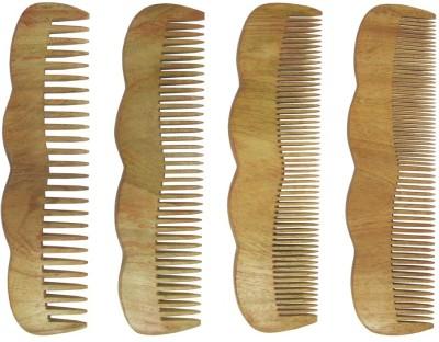 Prakrita Handicraft Beautiful Pack of 4 Comb Made of Neem Wood