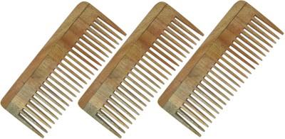 Prakrita Handicraft Shampoo Comb Made of Neem Wood (Pack of 3)