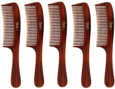 Roots Brown Wide Teeth Handle Comb for Fine/ Wavy/ Curly Hair - Pack of 5