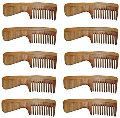 Majik Neem Wood Comb Set of 10 100% Handmade Anti-Dandruff